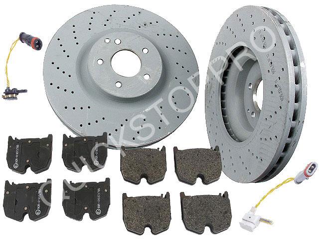 Mercedes benz sl55 amg oem brake rotor pads sensor set ebay for Mercedes benz rotors and pads